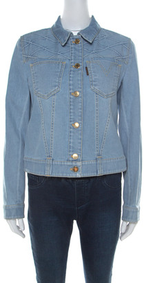 Louis Vuitton Blue Denim Patterned Yoke Detail Jacket M
