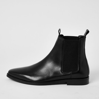 River Island Black leather pull tab Chelsea boots