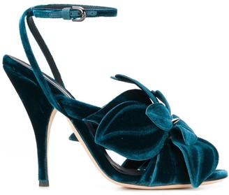 Marco De Vincenzo Velvet Flower Sandals