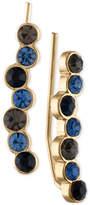 Rachel Roy Gold-Tone Blue & Black Stone Crawler Earrings