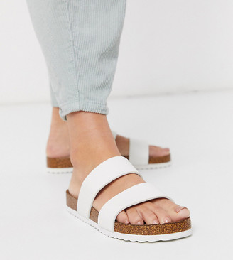 South Beach Exclusive double strap slide sandals in white