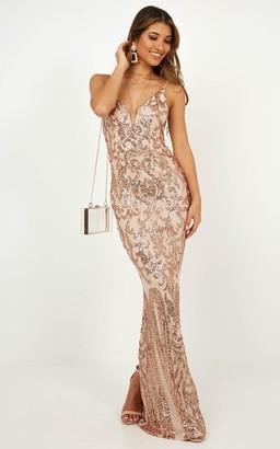 Showpo Capture Recapture dress in gold sequin - 8 (S) Wedding Guest