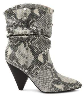 BCBGeneration Cebina Snakeskin-Print Leather Booties