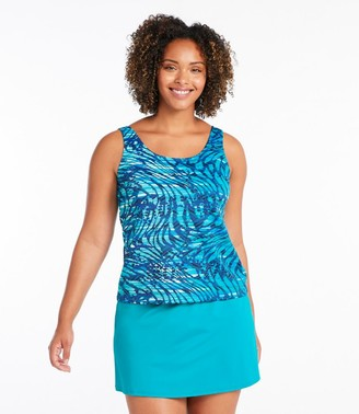 L.L. Bean Women's BeanSportA Swimwear, Tankini Top Scoopneck Wave Print