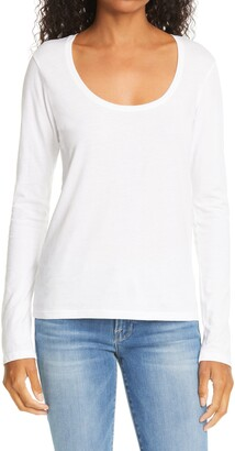 Frame Scoop Neck Long Sleeve T-Shirt