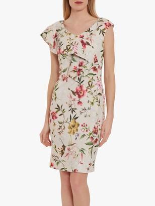 Gina Bacconi Darcella Floral Scuba Dress, Soft Stone