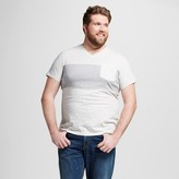 Mossimo Men's Big & Tall V-Neck Large Stripe T-Shirt with Pocket Medium White