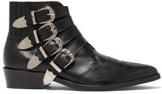 Toga Virilis Buckled Leather Ankle Boots - Black
