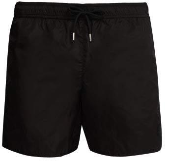 Moncler Rubberised Logo Swim Shorts - Mens - Black