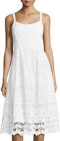 Neiman Marcus Lace Cami Dress, White