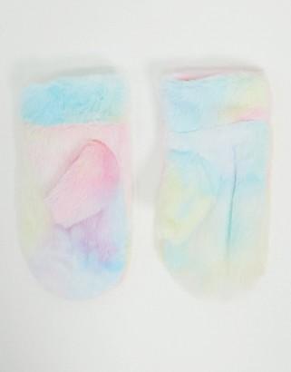 My Accessories London mittens in faux fur tie-dye effect