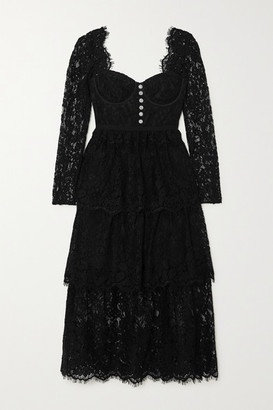 Self-Portrait Crystal-embellished Tiered Cotton-blend Corded Lace Midi Dress - Black
