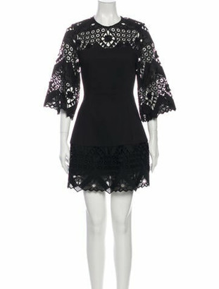 Alexis Lace Pattern Mini Dress Black