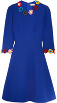 Mary Katrantzou Cooper Floral-appliquéd Wool-crepe Dress - Bright blue