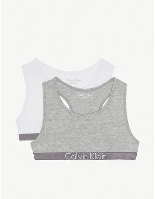 Calvin Klein Logo cotton-blend bralette set of two 6-16 years