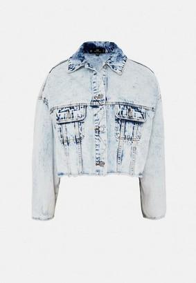 Missguided Light Blue Co Ord Pleat Back Vintage Denim Jacket