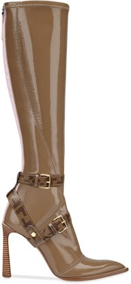 Fendi patent leather pointed toe boots