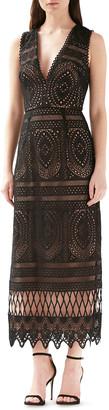 ML Monique Lhuillier V-Neck Sleeveless Lace Cocktail Dress