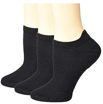 Hue EcoSport Tab Back No Show 3-Pack (Black Pack) Women's Crew Cut Socks Shoes