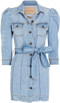 retrofete Lima Puff Sleeve Denim Dress