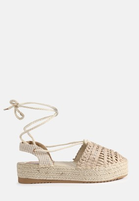 Missguided Cream Crochet Lace Up Espadrilles