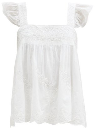 Juliet Dunn Ruffle-strap Embroidered Cotton Top - White