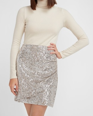 Express High Waisted Ruched Sequin Mini Skirt