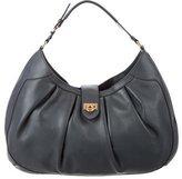 Salvatore Ferragamo Gancini-Embellished Leather Hobo