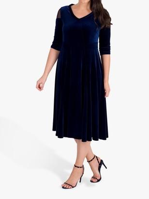 Chesca Mesh Shoulder Dress, Navy