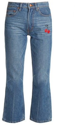 Bliss and Mischief Cherry-embroidered Mid-rise Flared Cropped Jeans - Denim
