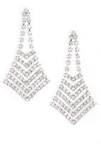 Nina Women's Crystal Chevron Chandelier Earrings