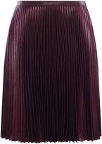 Karen Millen Wetlook Pleat Skirt - Aubergine