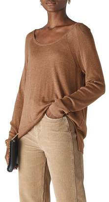 Whistles Scoop Neck Mixed-Knit Top