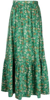L'Autre Chose Tiered Floral-Print Midi Skirt