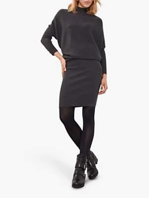 Mint Velvet Batwing Knit Midi Dress, Dark Grey
