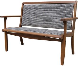 Outdoor Interiors Grey Wicker & Eucalyptus Bench