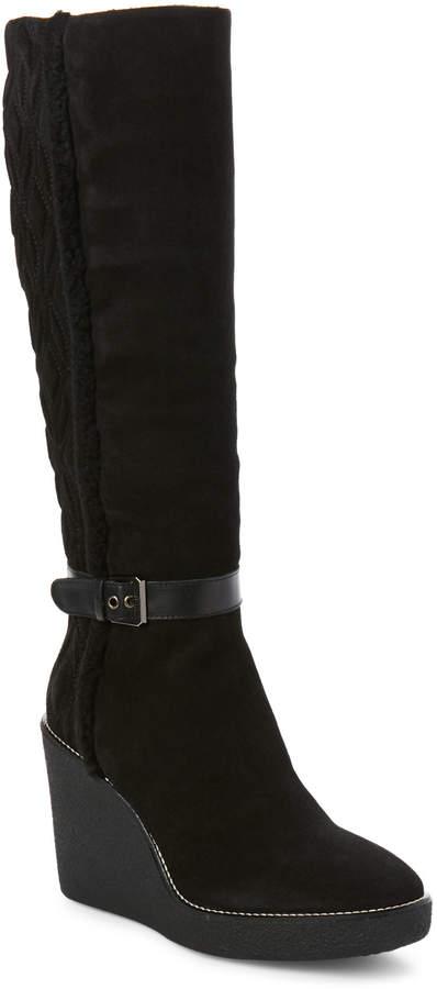 Aquatalia by Marvin K Black Viviana Suede Weatherproof Wedge Boots
