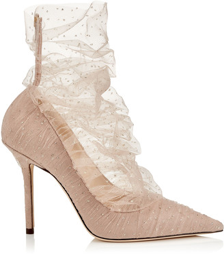 Jimmy Choo LAVISH 100 Ballet Pink Suede Pump with Ballet Pink and Gold Glitter Tulle Overlay