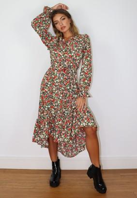 Missguided Black Floral Frill Smock Midi Dress