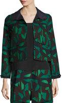 Akris Garden-Print Short Jacket, Green/Black