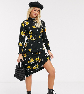 Wednesday's Girl high neck midi dress with shirred waist in bright floral