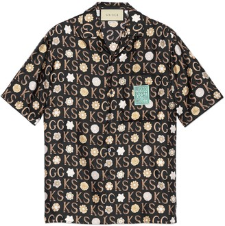 Gucci Ken Scott x print silk bowling shirt