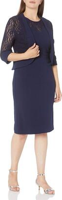 Maya Brooke Women's Plus Size Windowpane Pattern Mesh Lace Jacket and Knit Dress Set