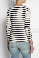 Embellished striped cotton-jersey top
