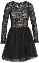 Sequin Hearts Women's Tie Back Glitter Lace Fit & Flare Minidress