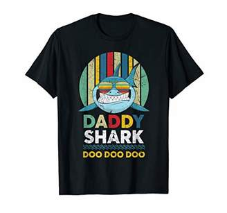 Retro Vintage Daddy Shark Tshirt gift for Father