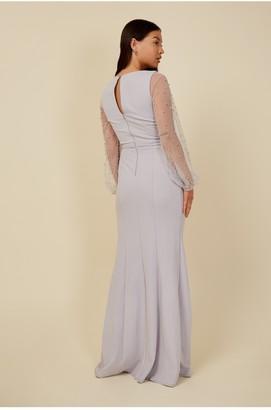 Little Mistress Bridesmaid Sofie Dusty Blue Pearl Mesh Maxi Dress