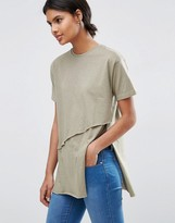 Asos Top With Raw Asymmetric Hem