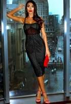 Pink Boutique Ester Black Structured Polka Dot Midi Dress