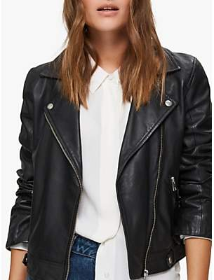 Selected Katie Leather Jacket, Black